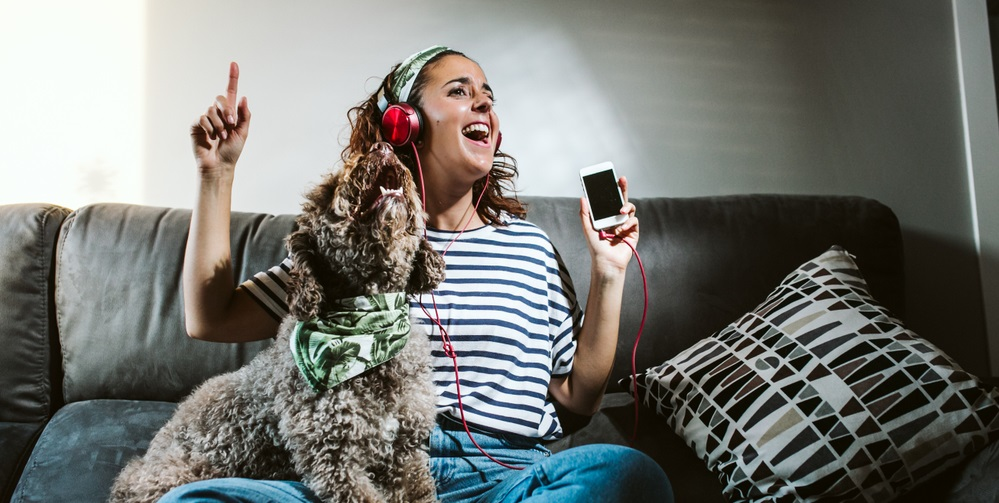 Lovely brown dog singing with her owner at home, sitting on the sofa. Funny time together.